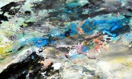 Rosa blå gul svart mjuk bakgrund, toner, vattenfärgmålarfärgbakgrund arkivfoto