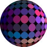Rosa blå purpurfärgad mosaiksfär 3d på isolerad vit bakgrund Mörk bollmodell vektor illustrationer