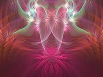 Rosa, blå, purpurfärgad och orange lotusblomma med änglar flammar fractal royaltyfri illustrationer