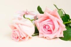 Rosa blühende Rosen auf Holz Stockbilder