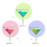 Rosa blaues Glasgrün Martinis Lizenzfreie Stockfotos