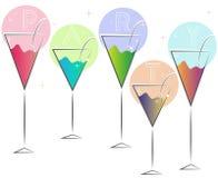 Rosa blaues Glasgrün Martinis Stockbild