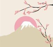 Rosa blom- filial och Mount Fuji Arkivfoto