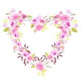 Rosa blom- ramvattenfärg för hjärta Arkivfoton