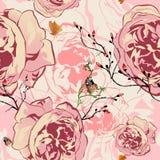 Rosa blom- sömlös modell för vektor Royaltyfri Foto