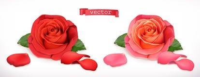 Rosa blomma vektor för symbol 3d vektor illustrationer