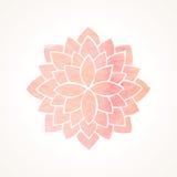 Rosa blommamodell för vattenfärg Kontur av lotusblomma mandala Arkivbild
