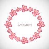 Rosa blommor för körsbärsröd blomning av den sakura cirkelinbjudan vektor illustrationer