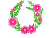 Rosa blommor för ram och gröna sidor stock illustrationer