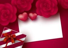 Rosa blommor och tomt vitbokkort med hjärta på röd bakgrund för valentin dag royaltyfri illustrationer