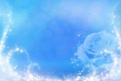 Rosa blu in acqua Fotografia Stock Libera da Diritti
