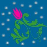 Rosa Blumen auf blauer Hintergrundzusammenfassung lizenzfreie abbildung
