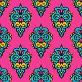 Rosa Blumendamastvektordesign Lizenzfreies Stockbild
