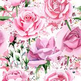 Rosa-Blumenmuster des rosa Tees des Wildflower in einer Aquarellart Stockfotos