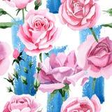 Rosa-Blumenmuster des rosa Tees des Wildflower in einer Aquarellart Lizenzfreie Stockfotografie