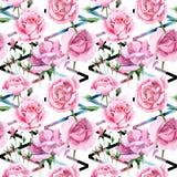 Rosa-Blumenmuster des rosa Tees des Wildflower in einer Aquarellart Stockfotografie