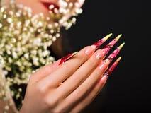 Rosa Blumenmusternägel der Schönheit stockfoto