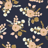 Rosa Blush Noisette Hand getrokken naadloos bloemenpatroon Stock Afbeeldingen