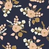 Rosa Blush Noisette Teste padrão floral sem emenda desenhado mão imagens de stock
