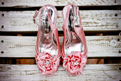 Rosa bröllop skor Fotografering för Bildbyråer