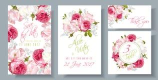 Rosa bröllopinbjudan vektor illustrationer