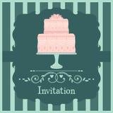 Rosa bröllopstårta royaltyfri illustrationer