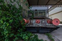 rosa buffertar av gamla railcars Fotografering för Bildbyråer