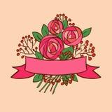 Rosa bukett för tappning med bandet Royaltyfri Illustrationer