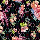Rosa bukettvildblomma Seamless bakgrund mönstrar Textur för tygtapettryck royaltyfri fotografi