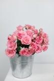 Rosa Buschrosen in einem Eimer Stockbild