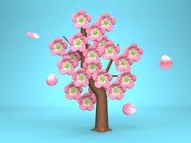 Rosa Cherry Blossoms On Blue Background Arkivbilder