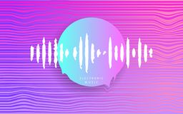 Rosa cirkel med musikv?gen Futuristisk abstrakt geometri cyberpunk elektronisk musik Djupt hus Synthwave stil80-tal - 90-tal vektor illustrationer