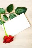 Rosa com artigos de papelaria Foto de Stock Royalty Free