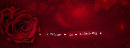 Rosa con il nastro del regalo (14 febbraio è il Da del biglietto di S. Valentino Immagine Stock