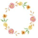 Rosa Coral Garland Wedding Spring Leaves della corona di estate dell'acquerello Immagini Stock Libere da Diritti