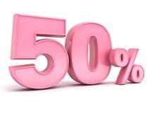 rosa 3D cinqüênta etiquetas do disconto dos por cento ou da oferta especial 50% para a senhora Fotografia de Stock Royalty Free