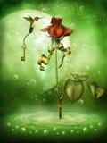 Rosa da fantasia e um colibri ilustração do vetor