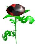 Rosa das folhas no dólar do formulário Imagem de Stock Royalty Free