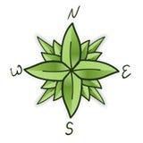 Rosa de compás hecha de hojas verdes