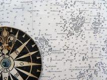 Rosa de compasso no mapa do vintage Foto de Stock Royalty Free