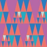 Rosa de golpe ligero brillante del estilo y diseño azul del triángulo en el fondo coralino del color Modelo inconsútil del vector ilustración del vector
