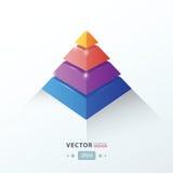 rosa de Infographic do negócio da pirâmide 3D, azul, laranja, cor roxa Foto de Stock Royalty Free