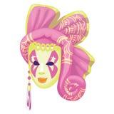 Rosa decorativo con la maschera gialla, fronte misterioso della donna isolato su fondo bianco Illustrazione di vettore illustrazione vettoriale