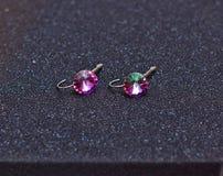 Rosa 2445 degli orecchini fotografia stock