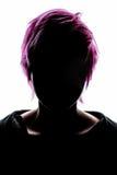 Rosa dei capelli di modo della siluetta della ragazza Fotografie Stock Libere da Diritti