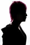Rosa dei capelli di modo della siluetta della ragazza Fotografia Stock Libera da Diritti