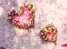 Rosa dei fiori del backgrop della parete del cuore su fondo Fotografia Stock