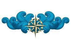Rosa dei venti con le onde simmetriche isolate su fondo bianco illustrazione di stock