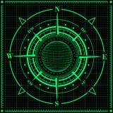 Rosa dei venti del radar con il globo Fotografia Stock Libera da Diritti