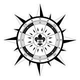 Rosa dei venti sul simbolo bianco isolato di navigazione del fondo come vettore Immagini Stock Libere da Diritti